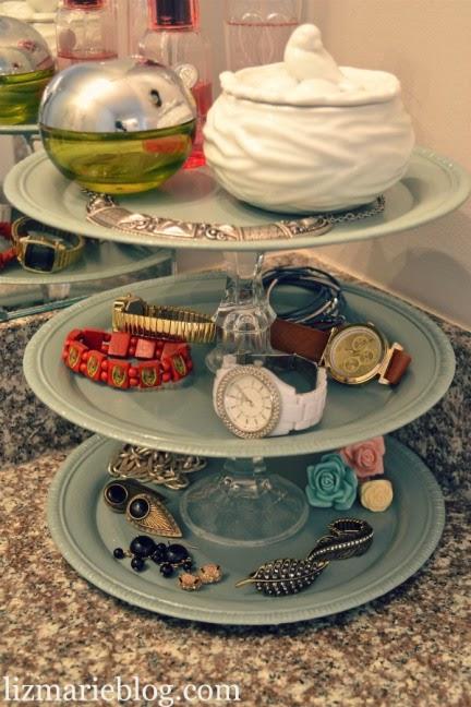 Organize jewelry in a dollar store tiered tray :: OrganizingMadeFun.com