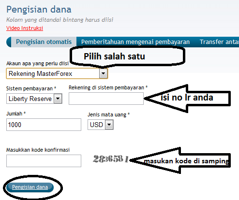 Cara deposit dan withdraw di masterforex
