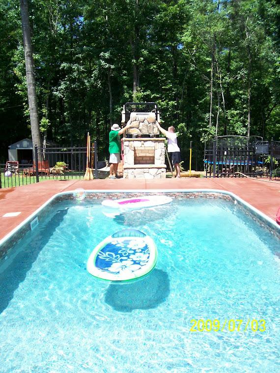 stone pool fireplace