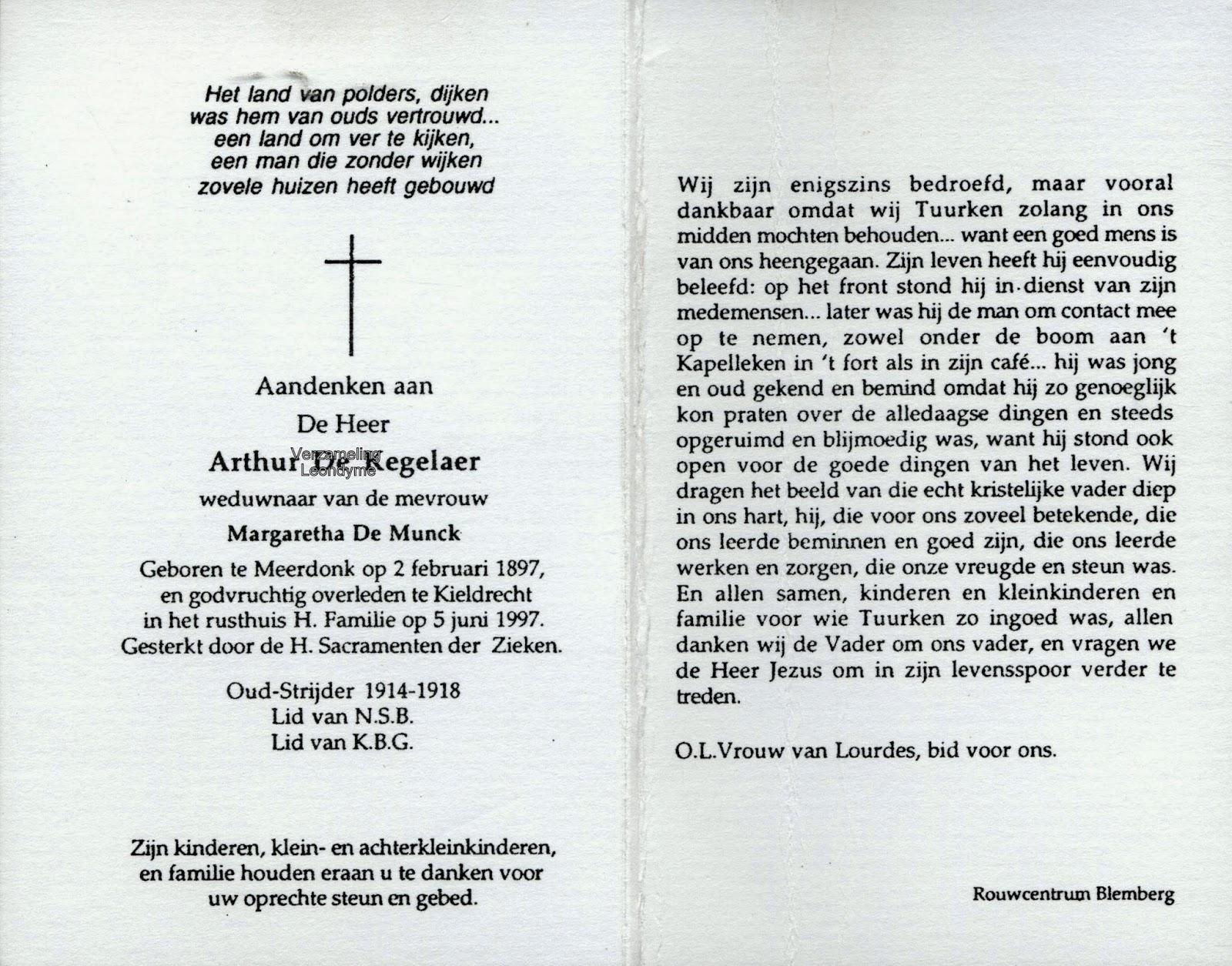 Bidprentje Arthur De Kegelaer 1897-1997. Verzameling Leondyme.