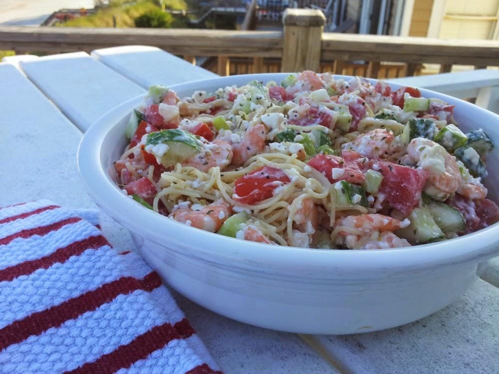 Feta and Shrimp Pasta Salad