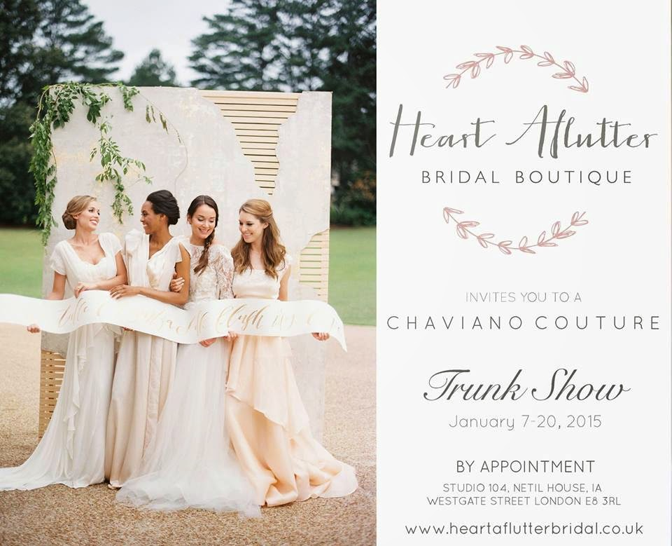 Chaviano Couture Trunk Show at Heart Aflutter Bridal, London UK