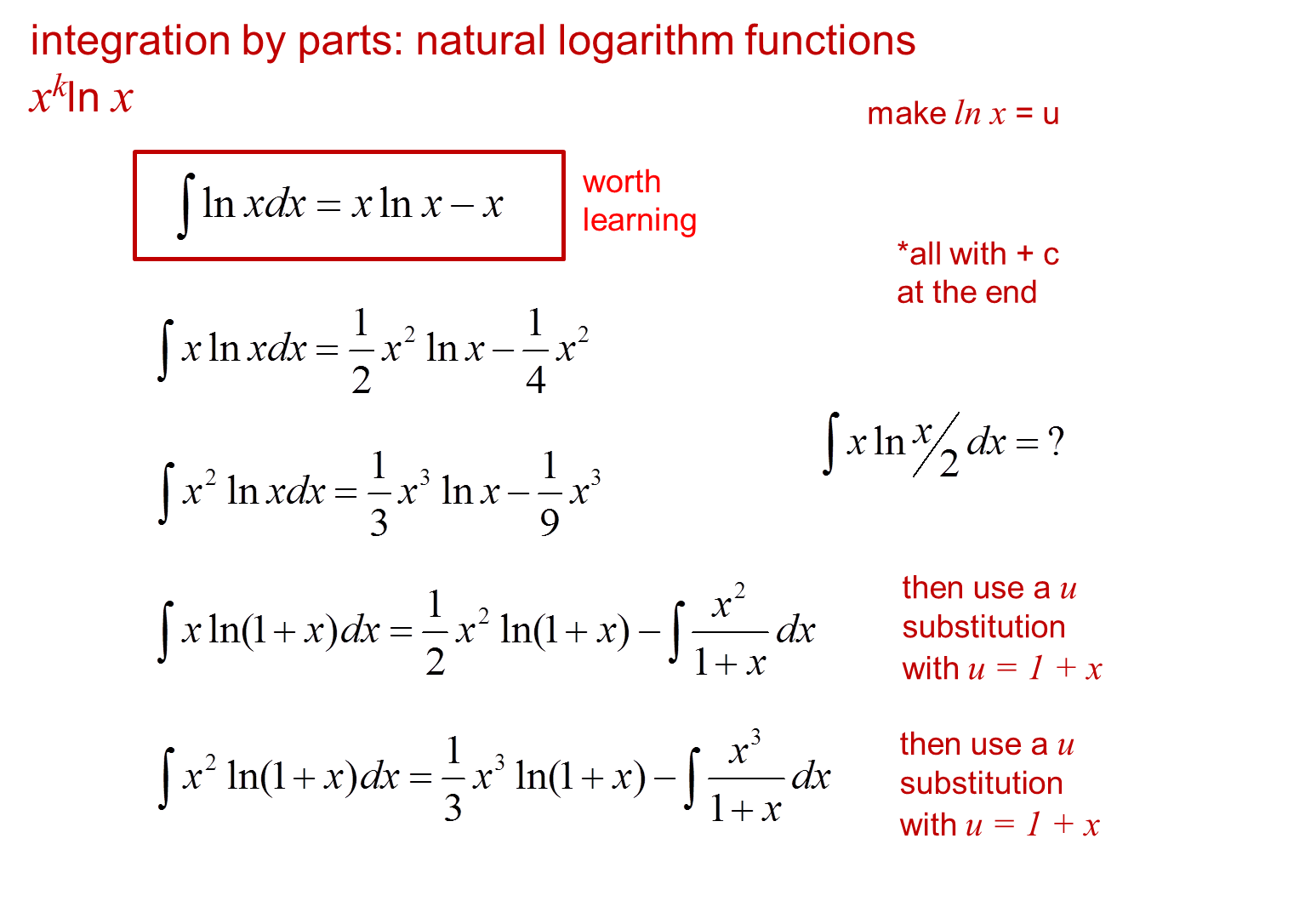 core pure 3 notes: integration by parts: examples