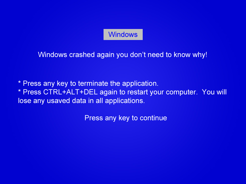 Blue Screen of Death Funny Blue Screen of Death Image