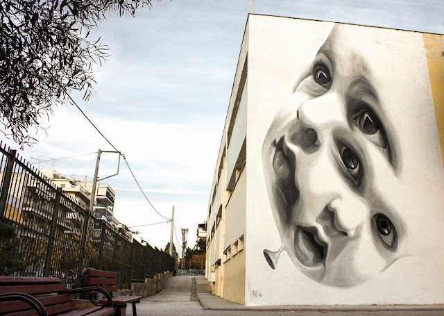 """""""New Future"""" Mural By Greek Street Artist iNO on the streets of Athens in Greece. 2"""