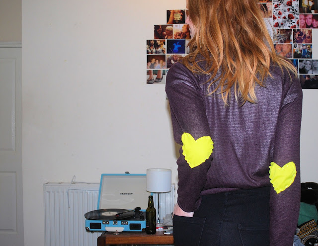 Red hair, neon yellow elbow patches DIY