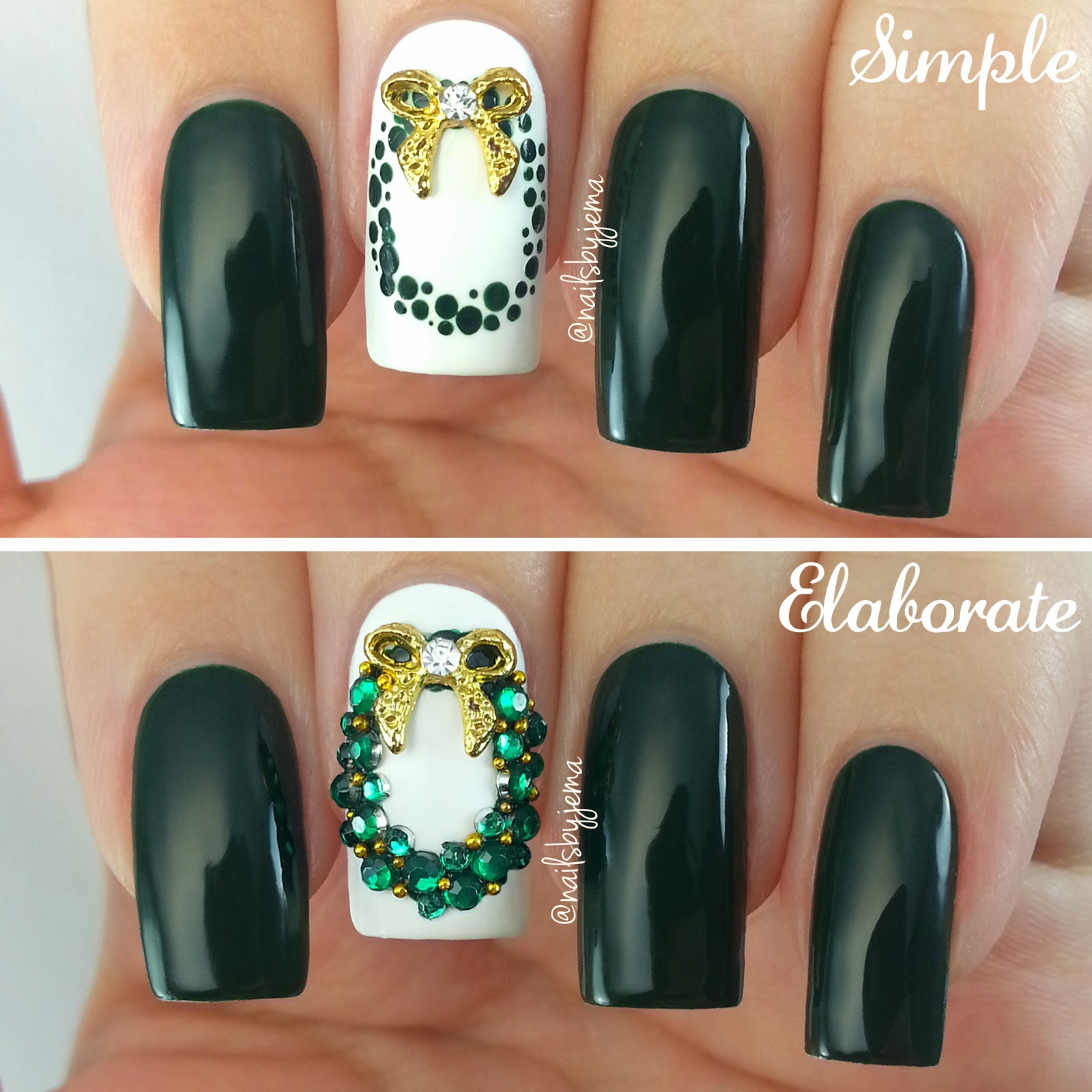 Nails by jema 2014 so i thought for this post i would do some christmas wreath nails one simple and one a bit more elaborate prinsesfo Image collections