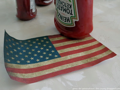 USA flag with Heinz Tomato Ketchup