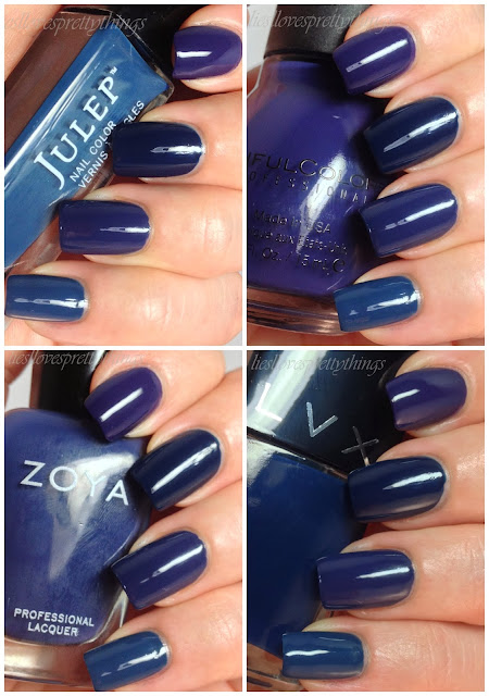LVX, Sinful Colors, Zoya, Julep blue comparison
