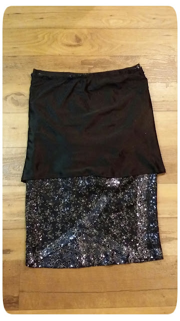 Vogue 8711 - Navy Sequin Draped Skirt - Erica B.'s DIY Style!