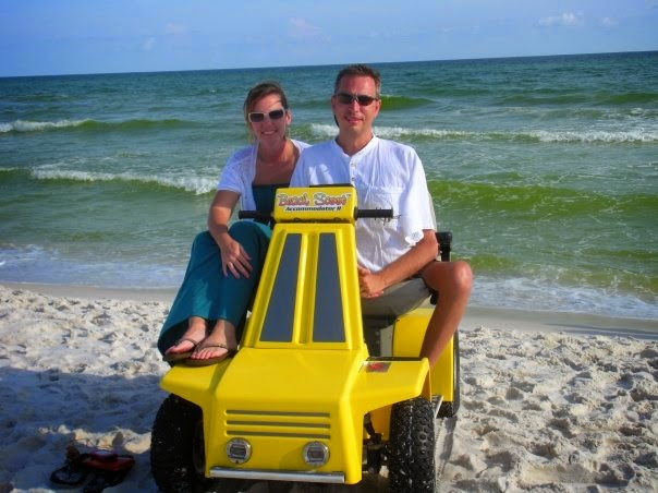 Scott and Stephanie Anderson on a BeachScoot
