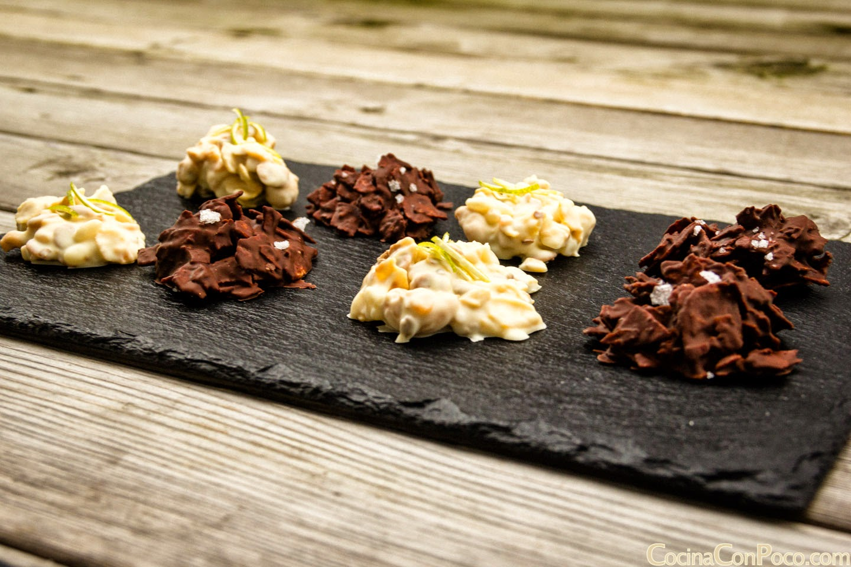 Rocas de Chocolate blanco y negro - Receta paso a paso