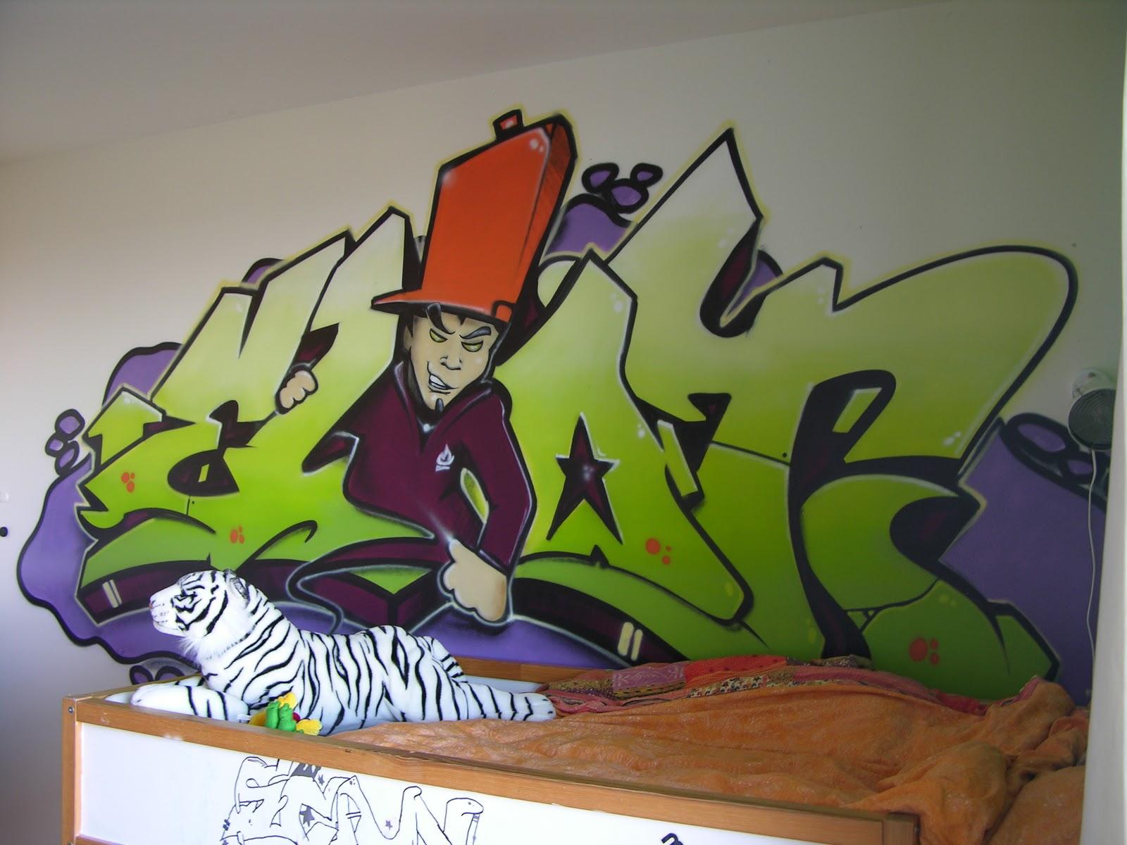 Graffiti sprayer in kinderzimmer