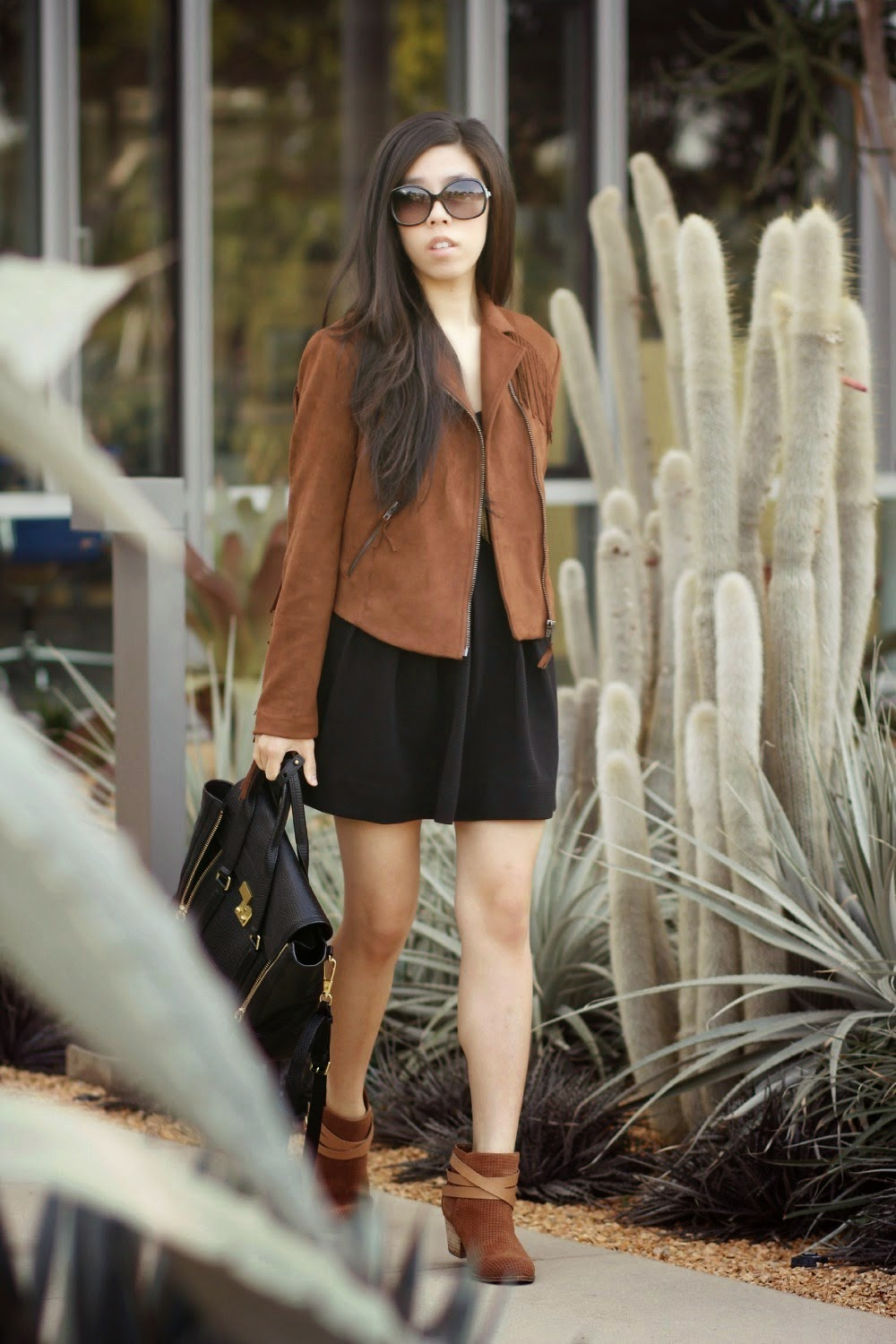 Suede Brown Fringe MURAL Zipper Jacket, Black Sugarlips Skater Dress, Casual Weekend Everyday Look