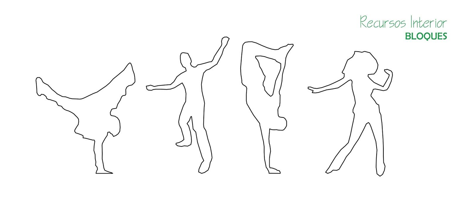 Descarga gratis 10 bloques .dwg. Silueta de personas bailando ...