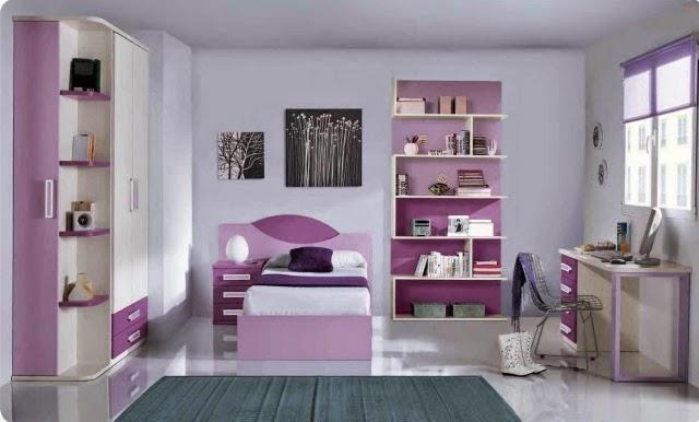 Cuartos de ni as en colores morados dormitorios colores for Muebles habitacion infantil nina