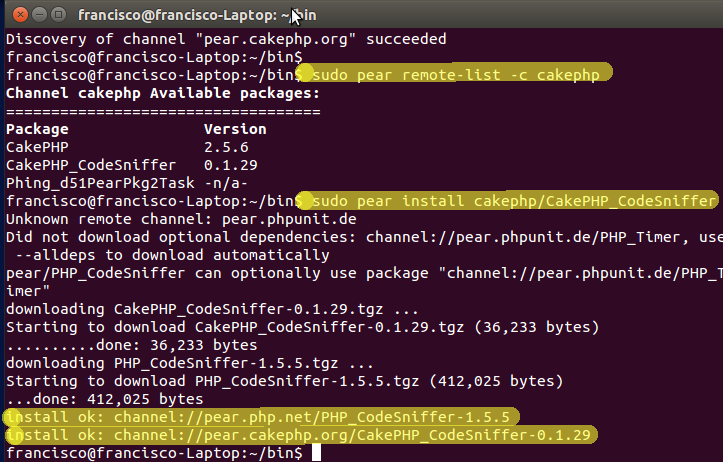 CakePHP_CodeSniffer instalado