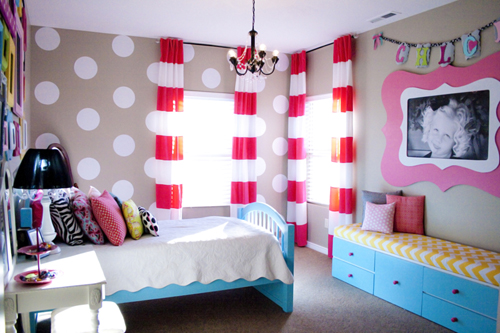 Ruthie be maude bedroom makeover and striped curtain for Bedroom ideas for 8 yr old girl