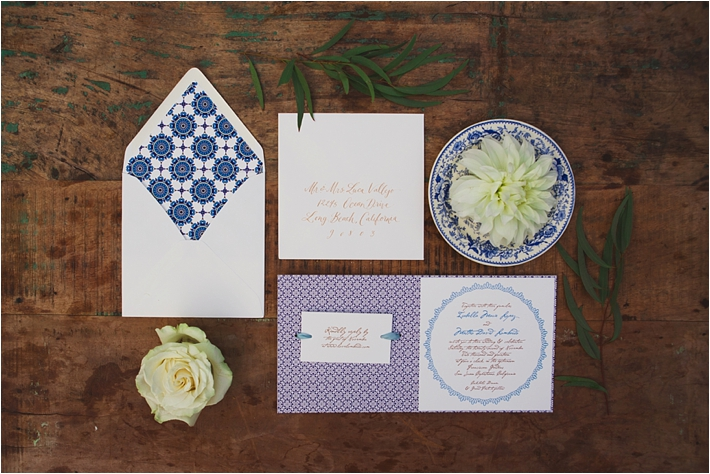Spanish-inspired blue wedding invitations by Copper Willow Paper Studio // Photo by Closer to Love Photography via @thesocalbride