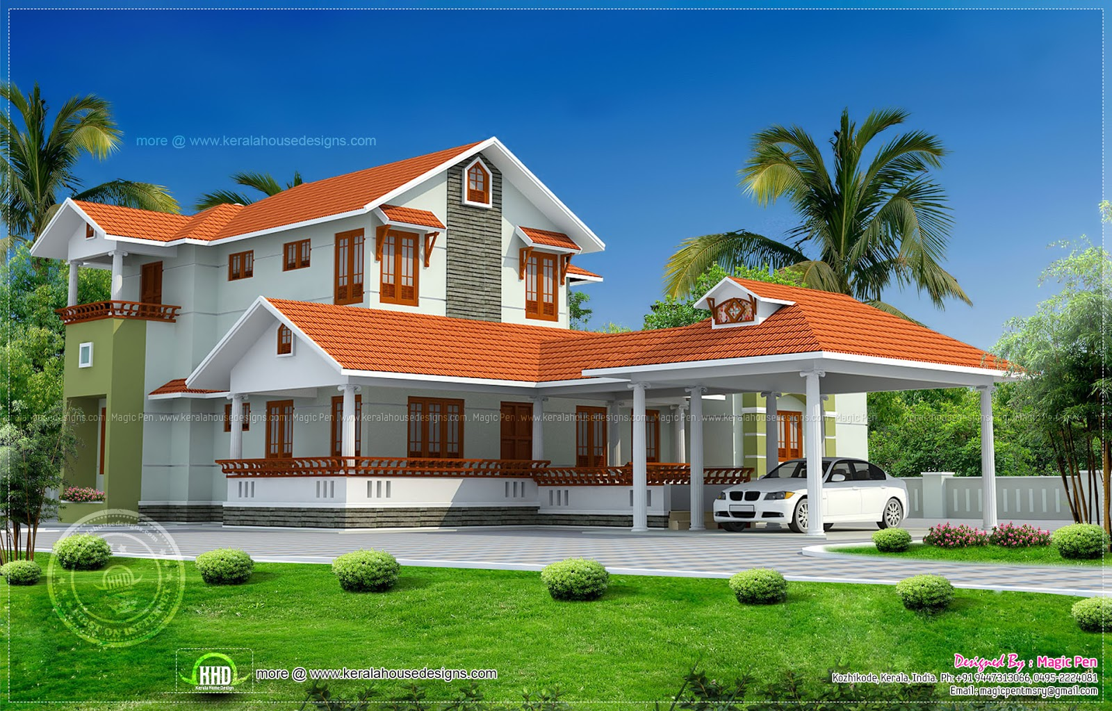 Kerala model double storied house kerala home design and for Kerala home designs photos in double floor