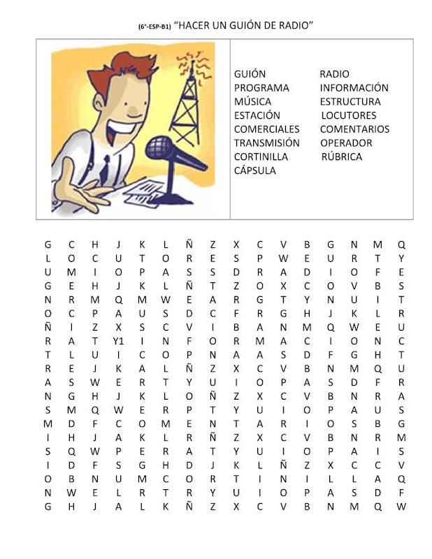 Sopa de letras guión de radio