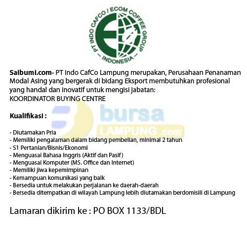 Lowongan Kerja PT. Indo CafCo Lampung, 15 Januari 2015