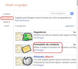 Añadir Widget Formulario de contacto para Blogger