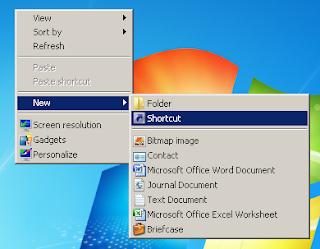 add shortcut to add shutdown shortcut in dekstop windows