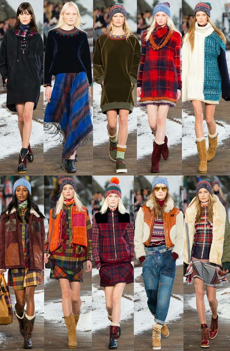Tommy Hilfiger fall winter 2014 runway collection, NYFW, fashion week, ski lodge, navajo, plaid