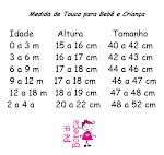 Tabela de medidas para gorrinhos