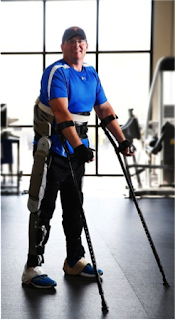 Brian Shaffer, who is paralyzed from the waist  down,  testing the Vanderbilt exoskeleton  at Shepherd Center's satellite facility in  Franklin, Tenn. (Joe Howell/Vanderbilt University)