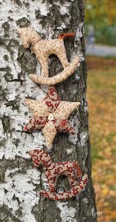 новогодний декор кони звезды текстиль