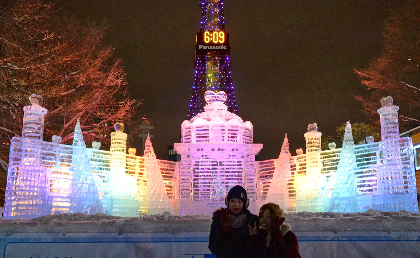 Sapporo Snow Festival in Japan at Night View with Lights