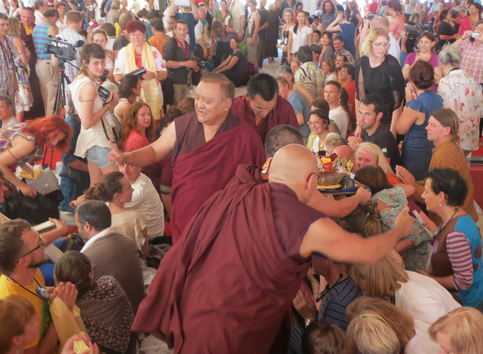 Kunzig Sharma Rinpoche giving blessings, Dhagpo Kagyu Ling, Institute Opening 2013
