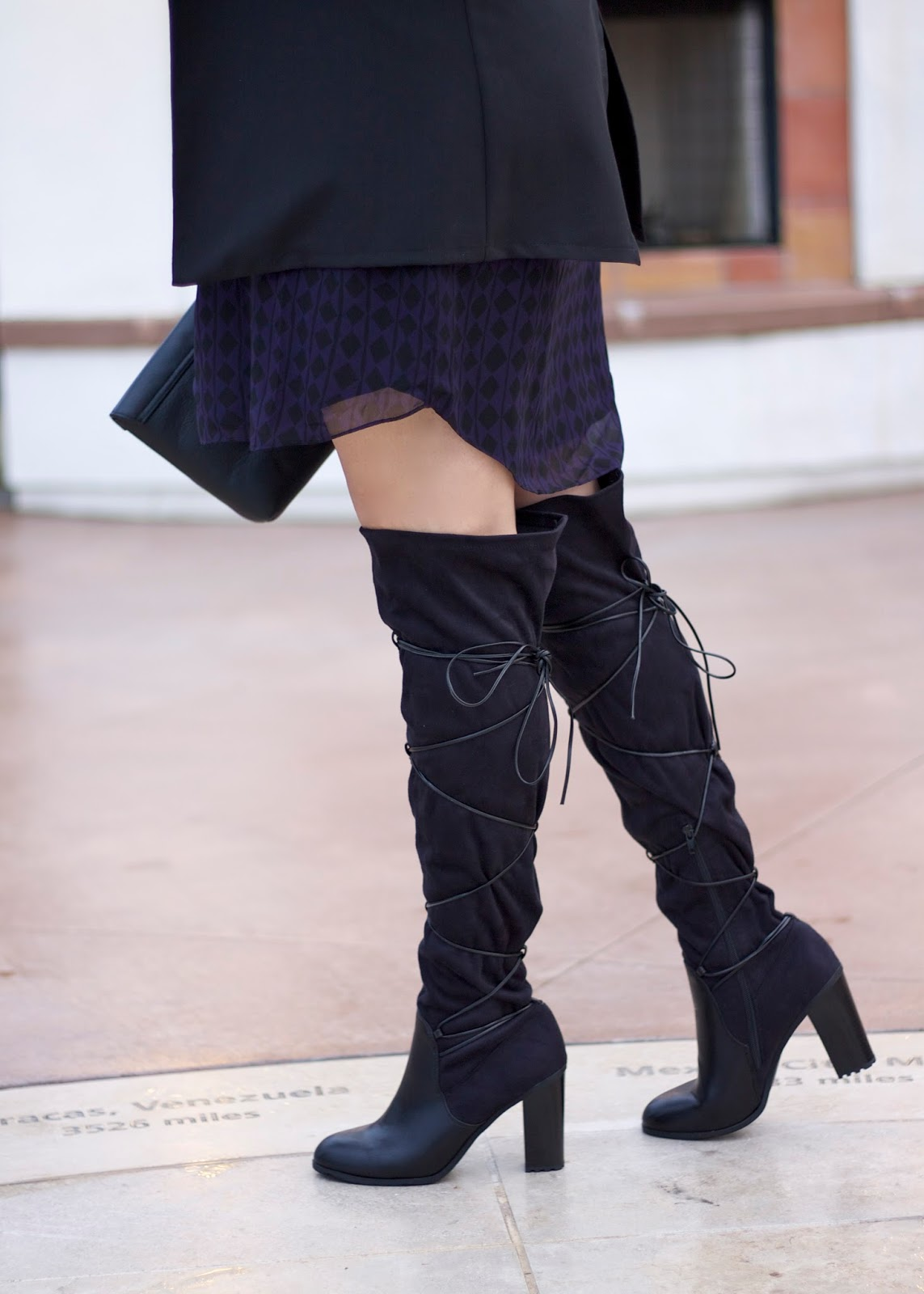 shoedazzle boots, how to wear over the knee boots, chunky boots, inexpensive otk boots