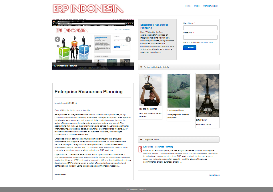 ERP Website Built by Yii Framework