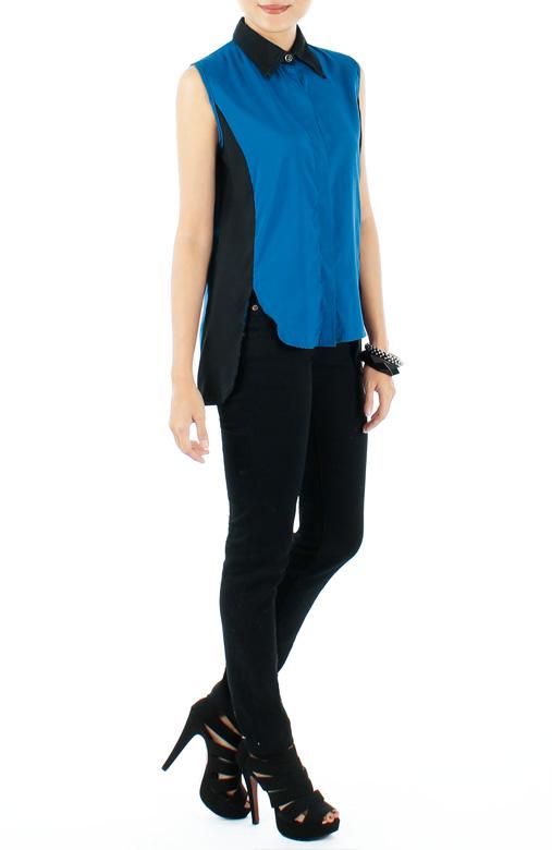 Azure Blue Tuxedo-inspired Dip Back Shirt