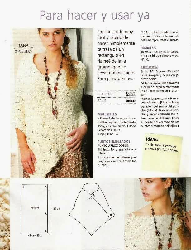 Patrones de poncho tejido a dos agujas super fácil | Crochet y Dos ...