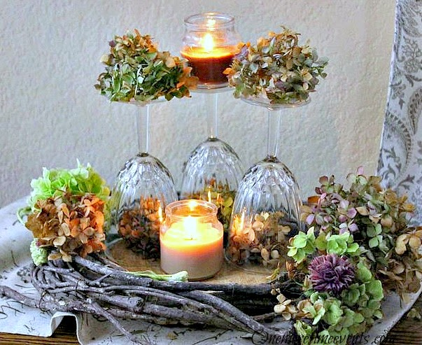 Fall  Wine Glass Hydrangea  Centerpiece at One More Time Events.com