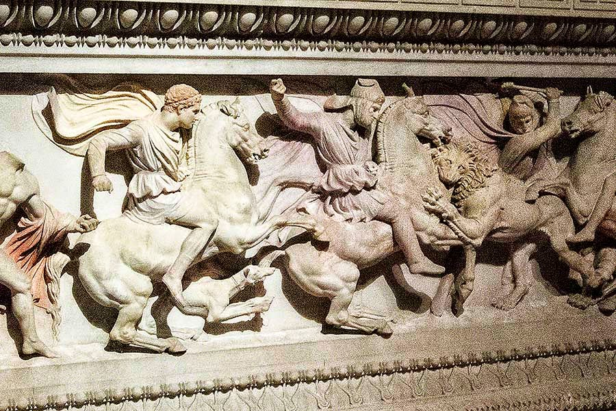 Alexander the Great is the figure on the left on a horse