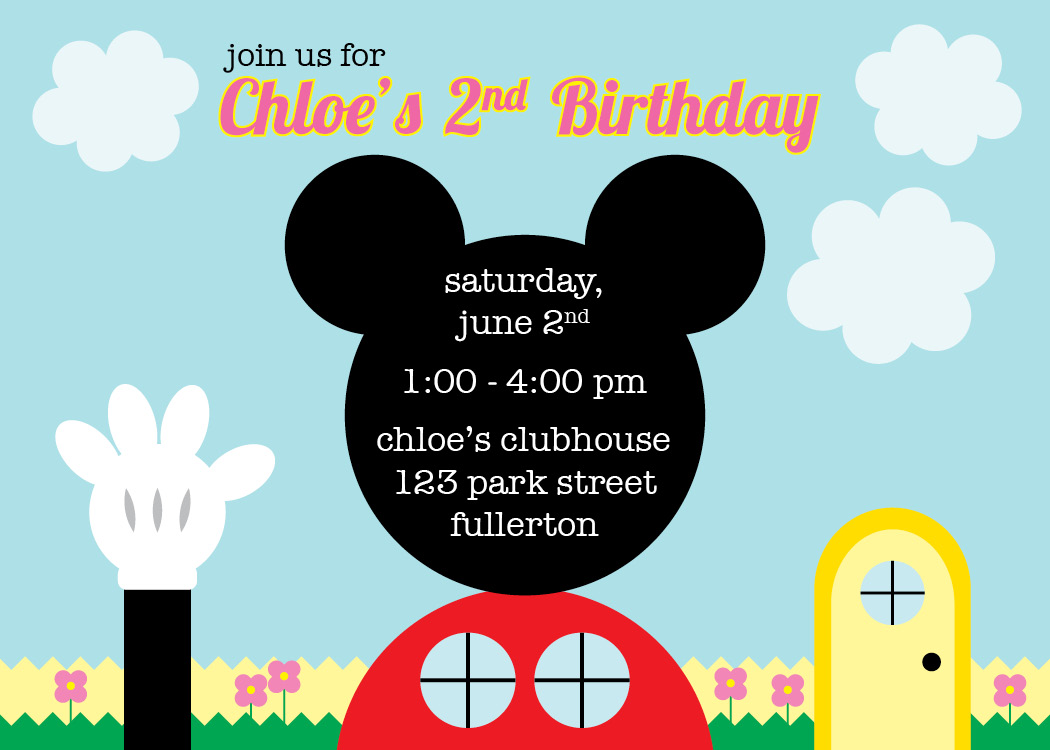 river bridge mickey mouse clubhouse invitation thank you