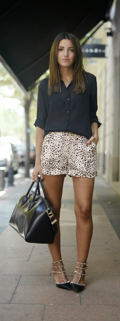 Black Button Up Top with Lepord Short and Studded Pumps | Summer Street Styles