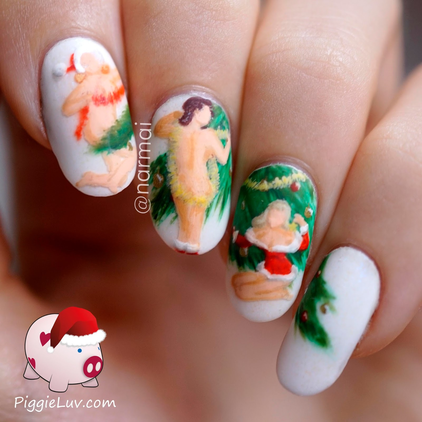 PiggieLuv: Burlesque Christmas ladies nail art, HPB December linkup