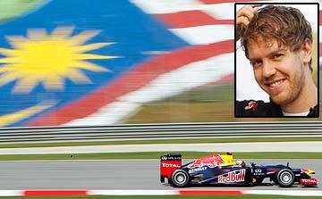 PEMANDU Formula Satu (F1) dari pasukan Red Bull, Sebastian Vettel memecut laju pada sesi uji pandu pertamanya di Litar Sepang (SIC) menjelang Grand Prix Malaysia, Ahad ini.