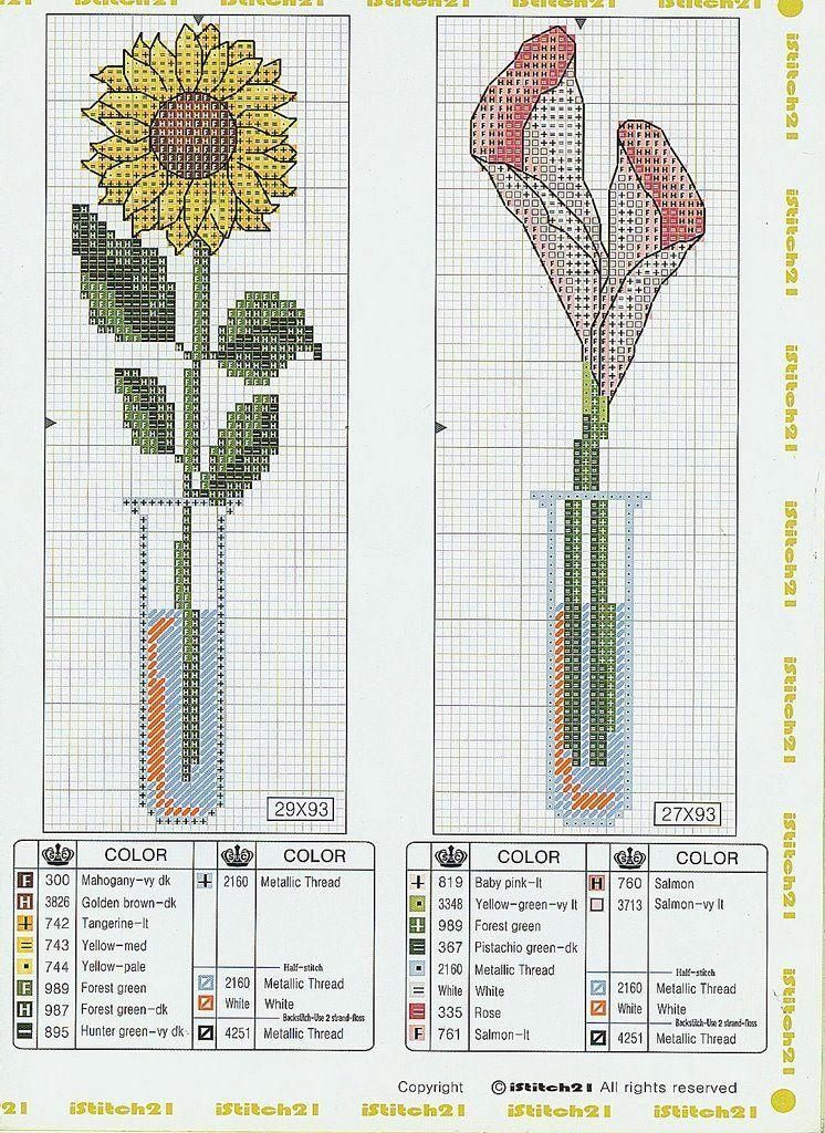 Вышитые крестиком цветы-