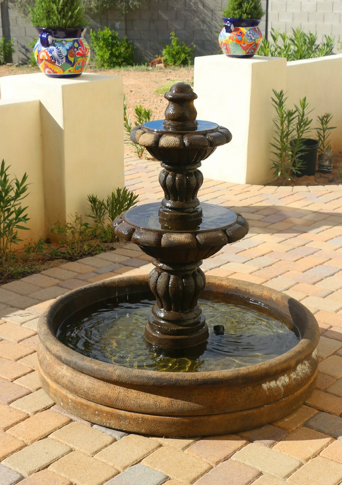 spanish fountain, al's espana fountain, garden fountain, spanish style fountain, garden fountain on pavers