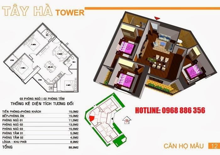 Căn hộ số 12 chung cư Tây Hà Tower