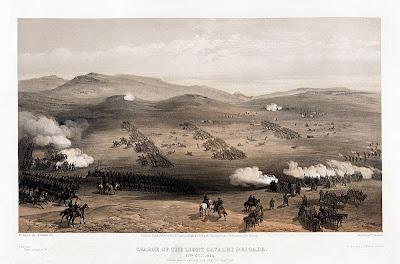 Grabado de época de la carga de la caballería ligera