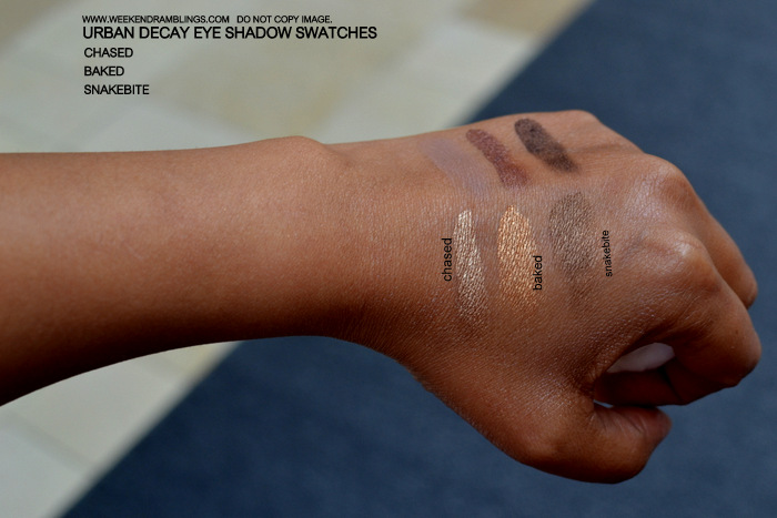 Urban Decay Makeup Eyeshadow Indian Beauty Blog Swatches FOTD Brown Beige Chase Baked Snakebite