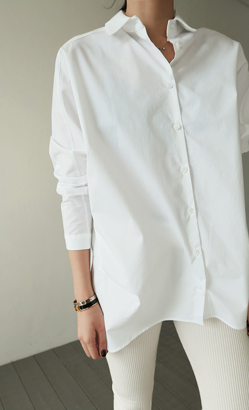 Convertible Collar High-Low Blouse